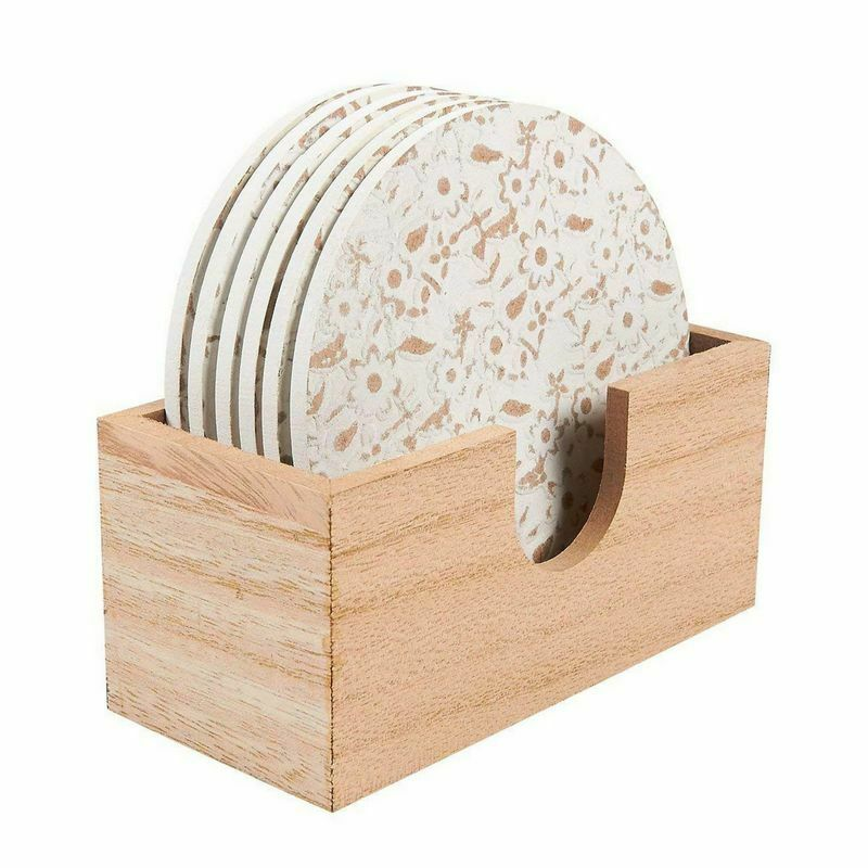 """6 Pack Round Wooden Coasters With Holder, White Floral Design, 3.8"""" Diameter"""