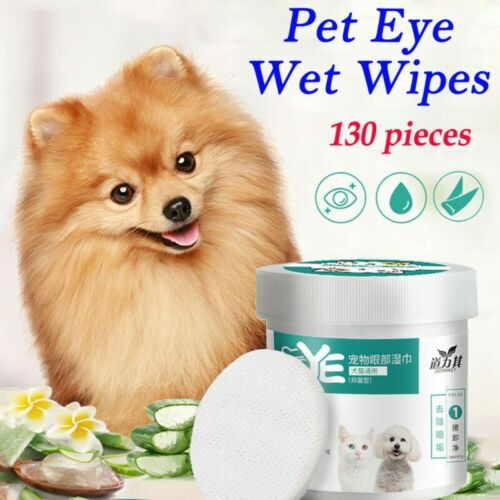 130Pcs Pet Wipes Dog Cat Eye Grooming Tear Stain Remover Cleaning Wet Towels