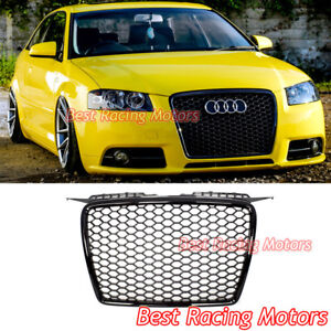 RS3 Style Front Grille (Gloss Black Frame + Mesh) Fits 06-08 Audi A3 S3 8P