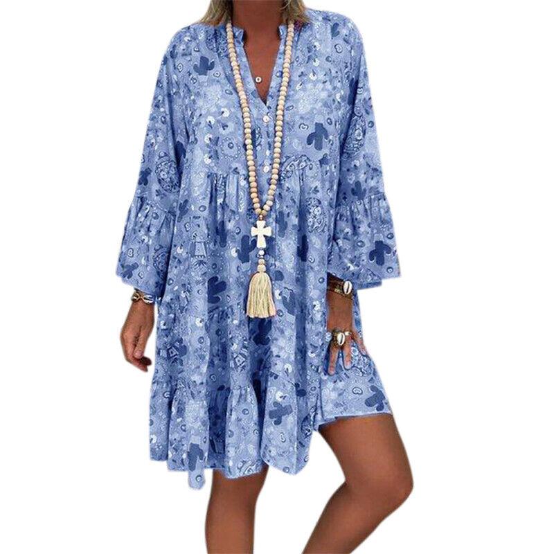 Plus Size Women Boho Floral Tunic Dress Summer Loose Kaftan Mini Swing Sundress Clothing, Shoes & Accessories