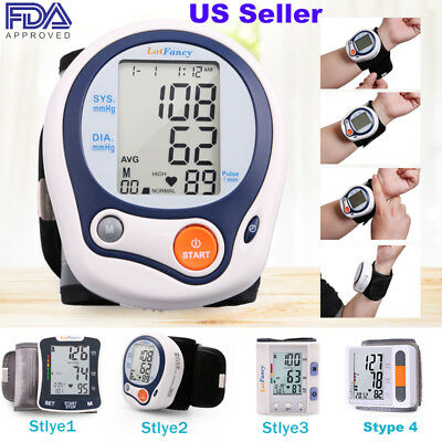 - Wrist Digital Blood Pressure Monitor w/ Heart Rate + Hypertension Alert BP Cuff