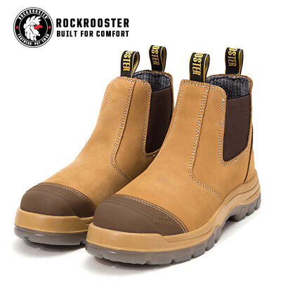 ROCKROOSTER Men's Waterproof Steel Toe Slip On Work Boots Safety Shoes