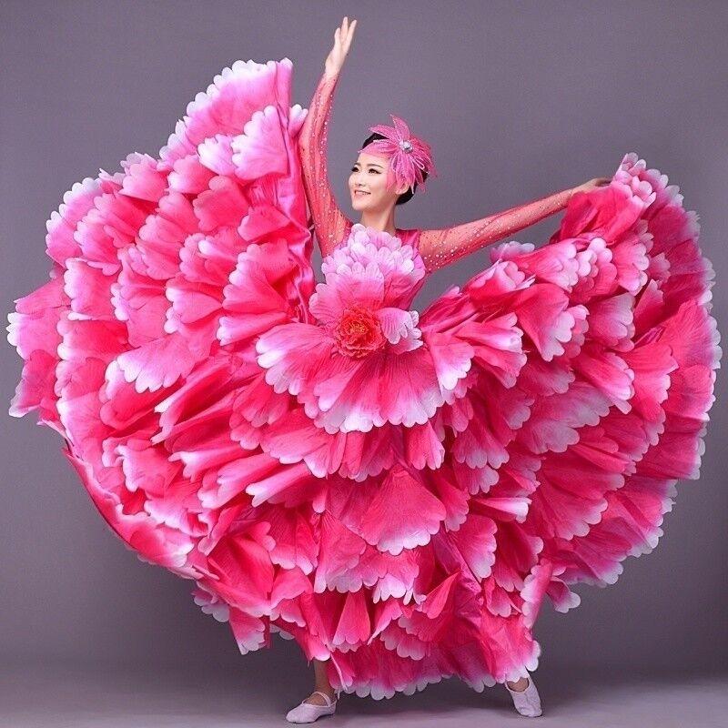 Modern Dance Dress Cha-cha Flamenco Petal Flower Skirt Womens Clothing Ballroon