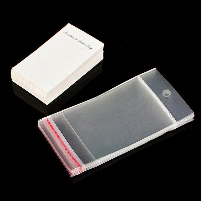Jewellery 100 x White Plain Earring Display Cards & Self Adhesive Bags L2V6