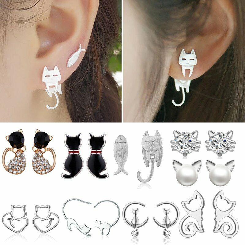 Cute Stainless Steel Crystal Pearl Cat Animal Ear Stud Earri