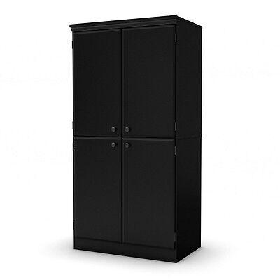 South Shore Morgan 4 Door Storage Cabinet  Pure Black