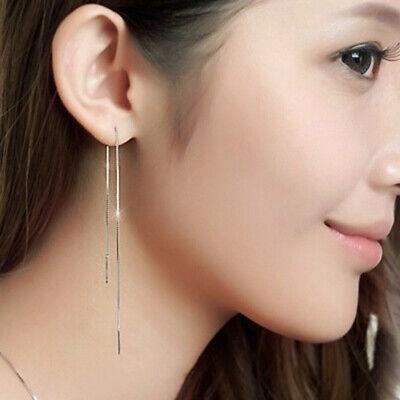 Women Long Chain Drop/Dangle Earrings Double Fair Simple Strip Silver Jewelry  ()