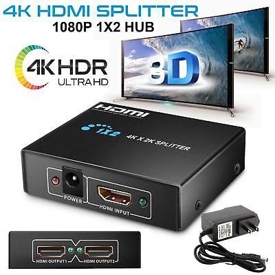 Ultra Hd 4K 2 Port Hdmi Splitter 1 2 Repeater Amplifier 3D 1080P Hub 1 In 2 Out
