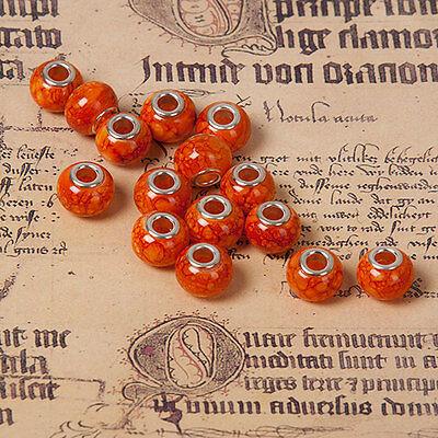 sperlen European Rondelle Facettiert Orange Paracord Pandora (Große Glas-perlen)