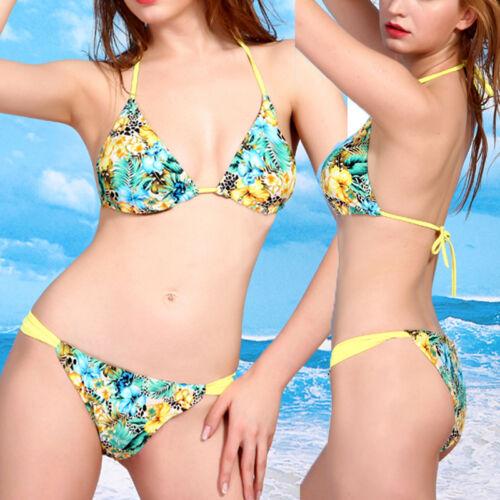Womens Brazilian Floral Push Up Padded Triangle Bikini Set Swimsuit Swimwear