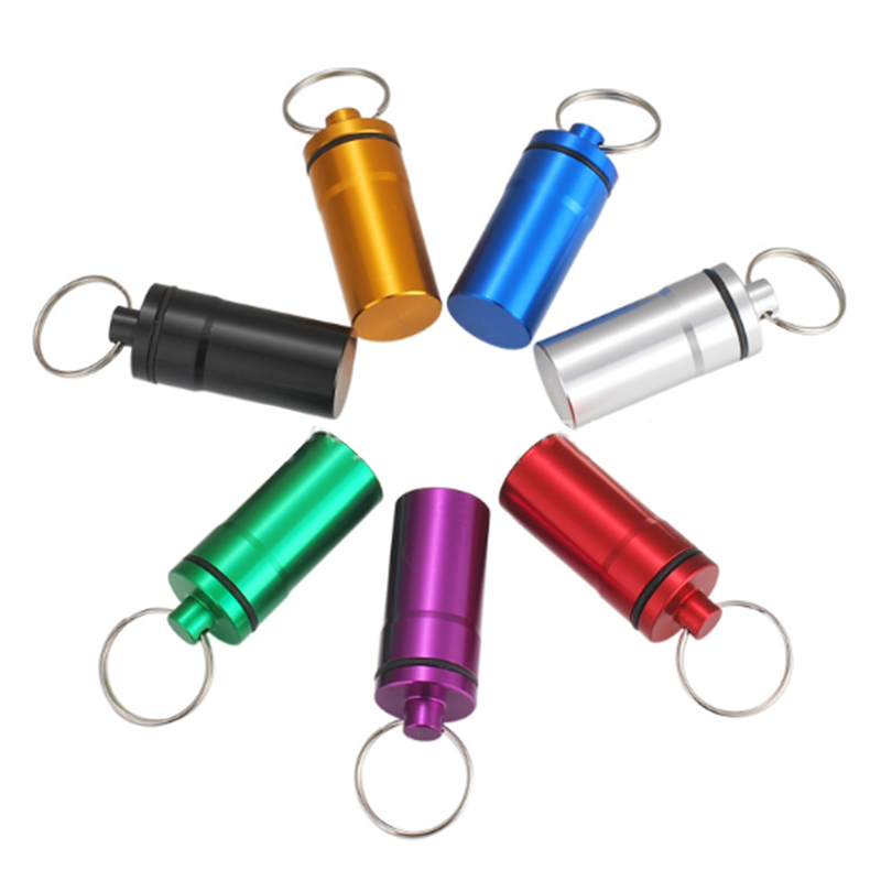 Portable Pill Box Waterproof Keychain Capsule Bottle First A