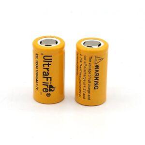 UK SELL 2x 1200mAh 18350 3.7V Li-ion Rechargeable Unprotected Flat Top Battery