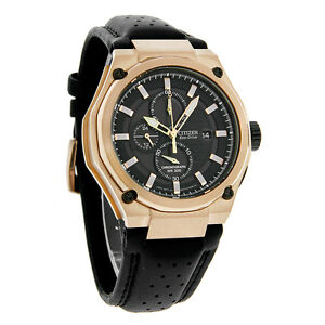 Citizen Eco-Drive Mens Rose Gold Tone Chronograph Black Leather Watch CA0313-07E