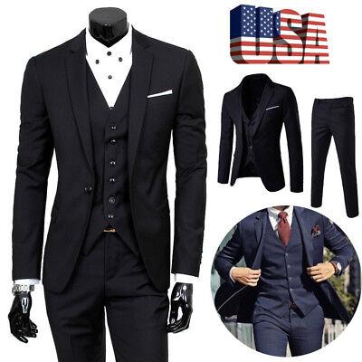 US Men Slim Business Formal Wedding 3-Piece Suit Leisure Blazer Business Coat](Leisure Suits)