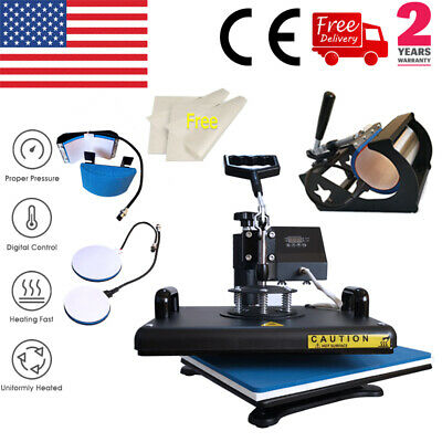 5 In1 Combo Heat Press Machine Swing Away Digital Sublimation T-shirt Mug Hat Us
