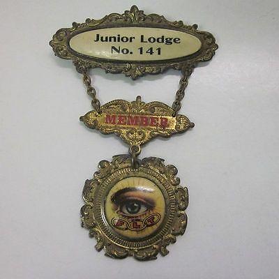 Vintage IOOF Odd Fellows Eye FLT 3-Part Member Medal Junior Lodge #141 cv7834