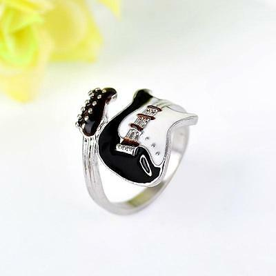 Unusual Punk Solid Silver&Black Guitar Adjustable Ring Mens or Ladies Gift NEW. (Mens Guitar Ring)