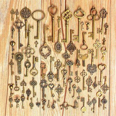 4h Antik (Satz von 70 Antik Old Look Bronze Skelett Schlüssel Fancy HeartBows Anhänger 4H)