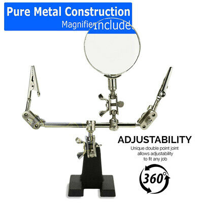 Third Hand Soldering Solder Iron Stand Holder Magnifier Helping Tool Station I-