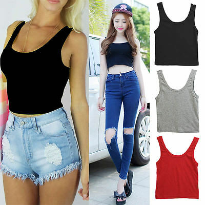 Sexy Womens Scoop Neck Crop Belly Top Vest Sleeveless Midriff Shirt Blouse Tank