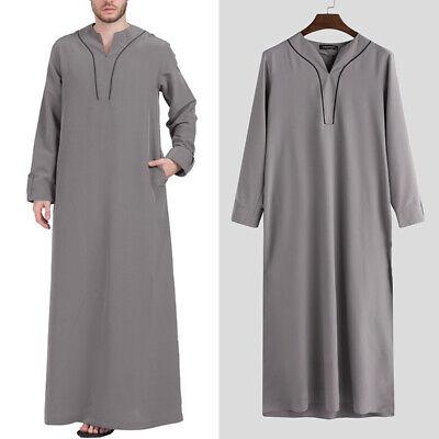 Men Saudi Style Thobe Thoub Hooded Dishdasha Islamic Arab Kaftan Abaya Robe Tops