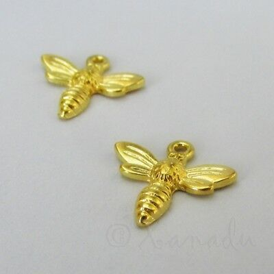 Honey Bee 15mm Wholesale Gold Plated Pendant Charms C4064 - 10, 20 Or 50PCs - Bee Charms