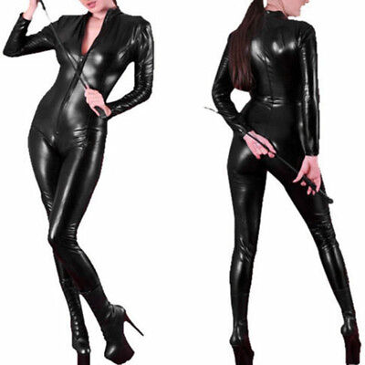 Womens Black Catsuit (Women's Sexy Wet Look Leather Jumpsuit Black Catsuit Close-fitting bodysuit)