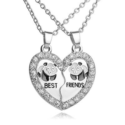 Panda Crystal Best Friend Necklaces Pendant Friendship Jewelry Charm 2pcs