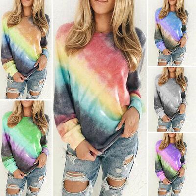 US Women Oversized Gradient Tie Dye Long Sleeve Tops Pullover Sweatshirt T-Shirt Women Tie Dye
