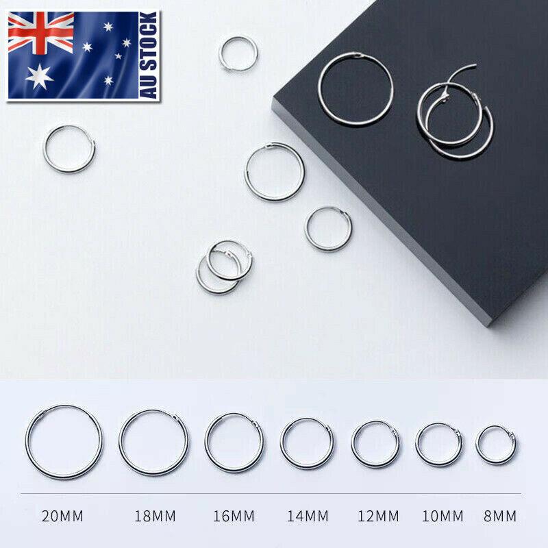 Jewellery - 925 Sterling Silver Solid Classic Hoop Ring Earrings Lip Ear Nose Body Piercing