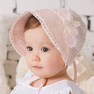 Cotton Lace Bonnet (Sweet Princess Hollow Baby Girl Hat Lace-up Beanie Cotton Bonnet Lace Floral Cap )