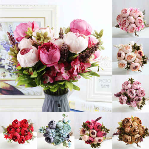 Home Decoration - 13 Heads Silk Peony Artificial Flowers Peony Wedding Bouquet Home Party Decor