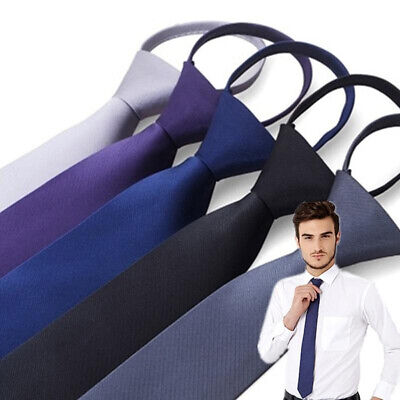Men Fashion Lazy Elastic Tie Free Solid Necktie Formal Office Suit Accessories