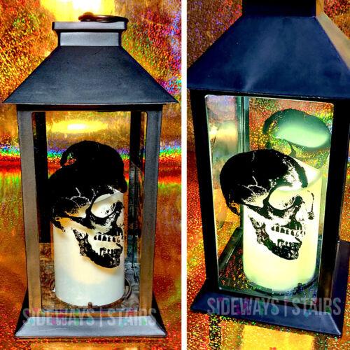 "11"" HALLOWEEN LANTERN color changing LED candle skull print black goth horror"