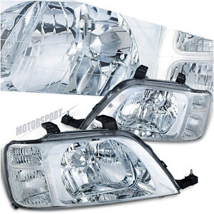 1997-2001 HONDA CR-V LX EX SE VISION CHROME EURO CLEAR HEAD LIGHTS LAMP SUV PAIR