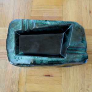 Vintage Evangeline Ashtray f. Green Drip Glaze