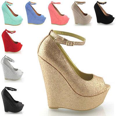 Ladies High Heel Platform Womens Peep Toe Ankle Strap Wedge Shoes Size 3-8