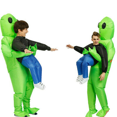 US Adult Inflatable Monster Costume Green Alien Carrying Human Cosplay Halloween