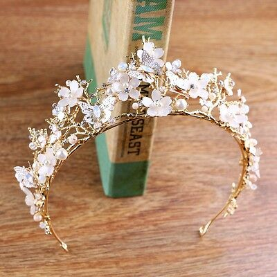 Lovely Pink Butterfly Flower Pearl Crystal Adult Big Tiara Crown Pageant Prom - Pink Tiara
