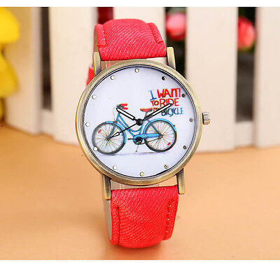 Fashion Geneva Women Denim Leather Strap Watches Bicycle Pattern Наручные часы
