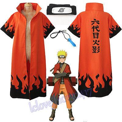 Cosplay Anime Naruto Uzumaki 6th Hokage Halloween Overcoat Cloak Headband  (Halloween Anime Naruto)