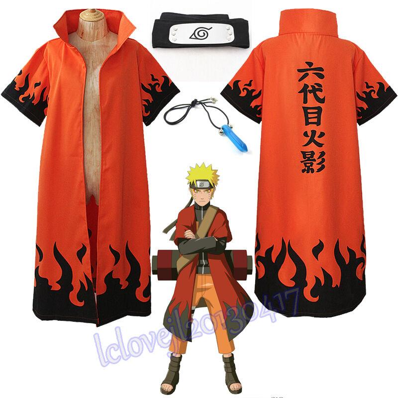 Cosplay Anime Naruto Uzumaki 6th Hokage Halloween Overcoat Cloak Headband