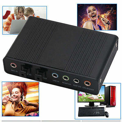 USB 5.1 Channel External Optical Audio Fiber Sound Card S/PDIF for Laptop PC Hot