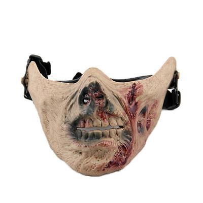Half Dead Face Halloween (New Walking Dead Zombie Skull Skeleton Half Face Mask Hunting Costume)