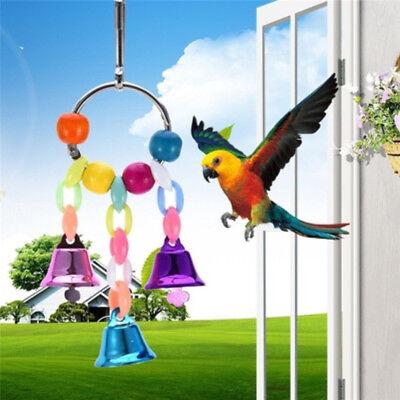 Bird Parrot Cage Swing Toy Bell Parakeet Cockatiel Lovebird Hanging Pet Supply
