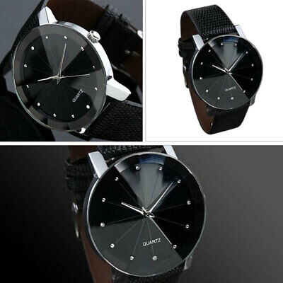 Männer Leder Mode (Mode Männer Frauen Paar Glanz Gesicht Uhren Lederbänder Quarz Analog Armbanduhr)