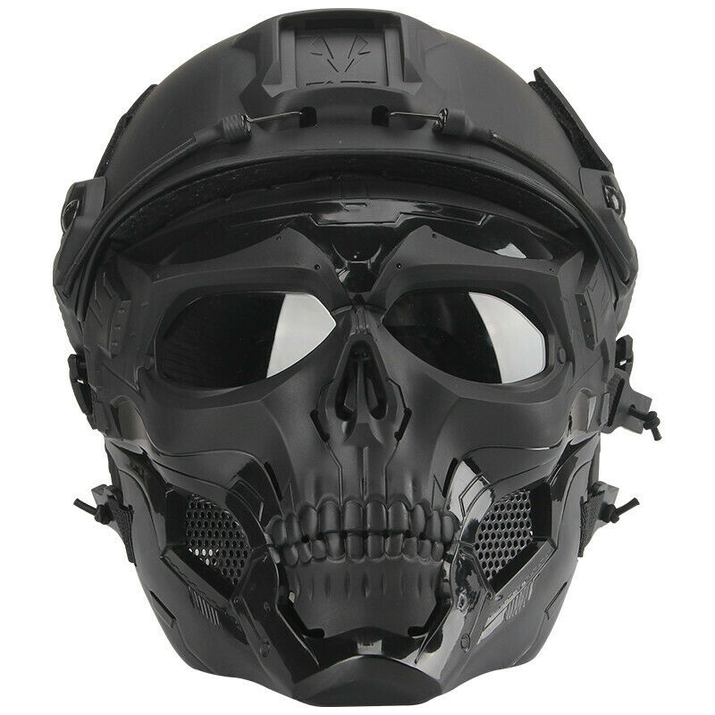 Tactical Airsoft Helmet Skull Full Face Mask Military CS Collectible Gift Set