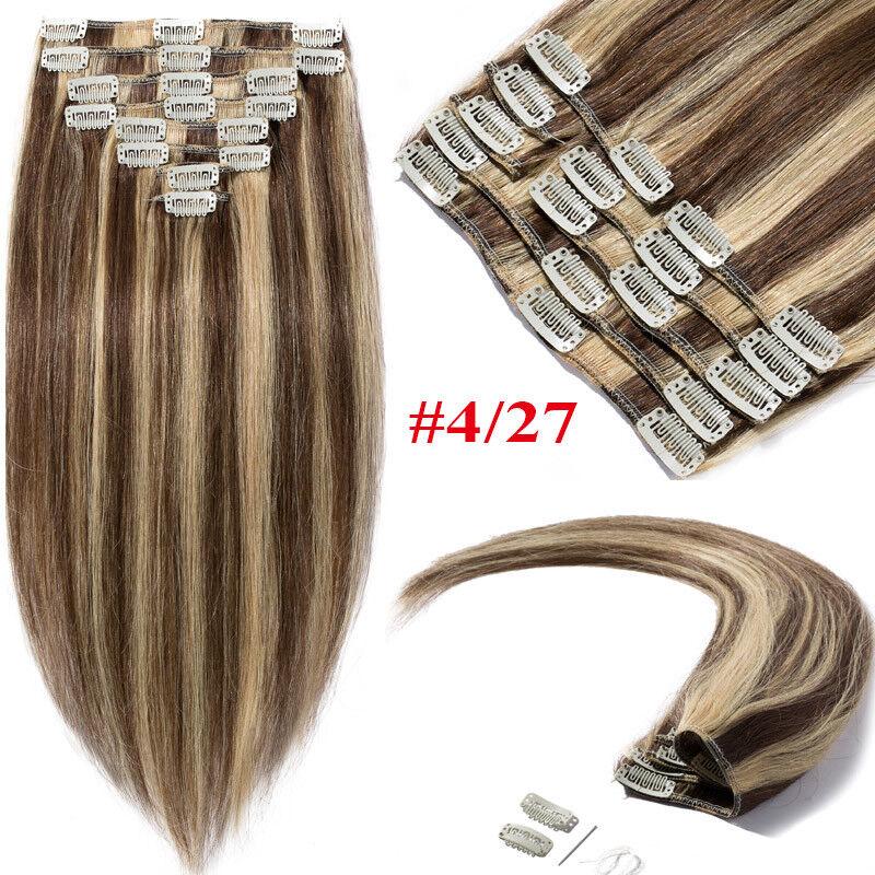 50CM 60CM Echthaar Clip In Extensions Remy Haar Haarverlängerung 8 teilig Set DE #4P27 Mittelbraun&Dunkelblond
