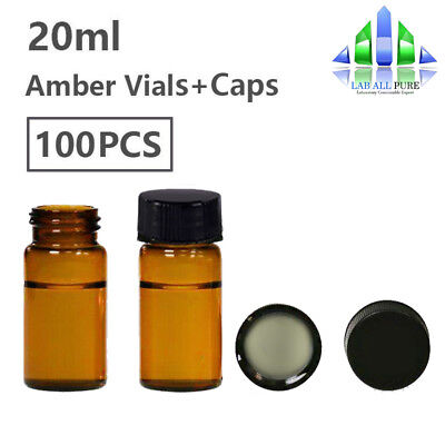 100kit 20ml Glass Sample Viallid Amber Storage Vials Screw Top Cap Flat Bottom