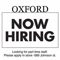 Oxford Clothing Boutique is now hiring part time sales  staff